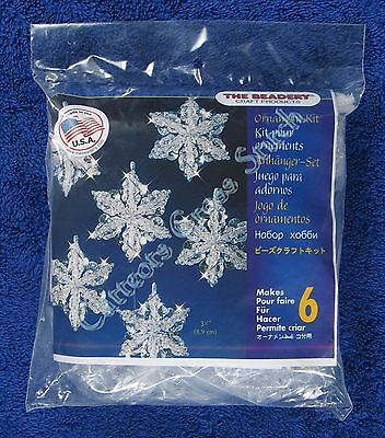 "Christmas Bead Kit Snow Crystals Ornament Makes 6 3.5"" 8.9 cm Quick & Easy"