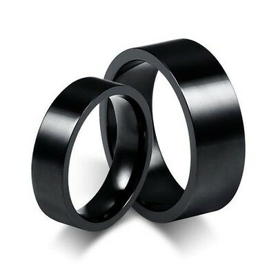 US 2Pcs Smooth Black Titanium Steel Couples Ring Set Wedding Band Promise Rings