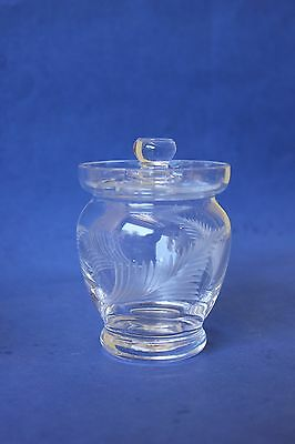 Vintage etched fern  glass sugar bowl.