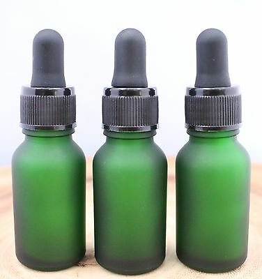 6 FROSTED GREEN 1/2oz GLASS BOSTON ROUND BOTTLES WITH GLASS DROPPERS 15ML