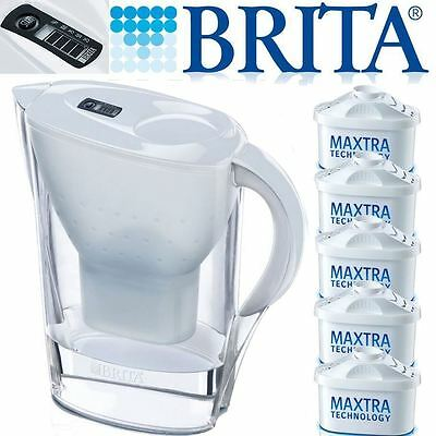 BRITA New Marella 2.4L White Jug with 5 Month Pack of Maxtra Water Filter Refill