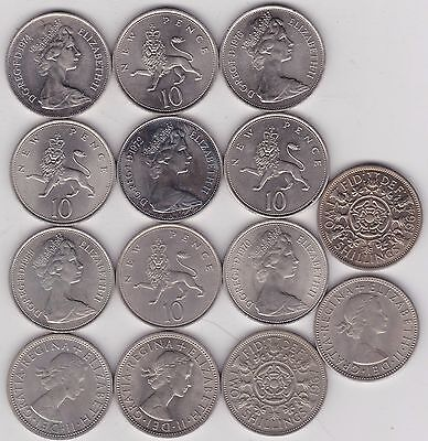 1963 To 1976 Large Old Ten Pence & Florin A Complete Date Run Of 14 Coins