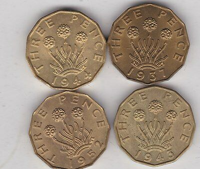 Four George Vi Brass Threepence Coins 1937/1943/1944 & 1952 In Mint Condition