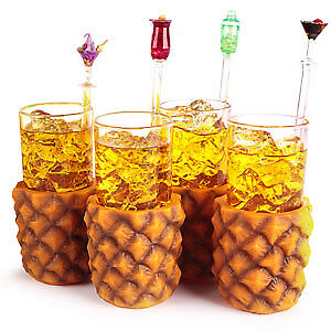 Pineapple Glasses 285ml - Set of 4 - Gift Boxed Retro Hawaiian Cocktail Tumblers