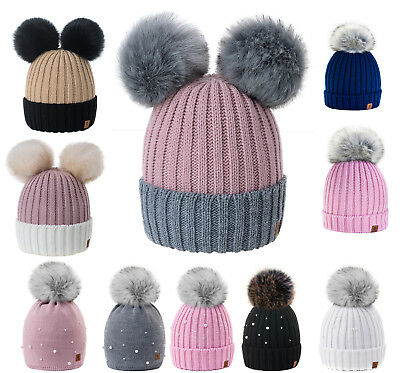 Kids Children Knitted Beanie Hat Hats Cap Winter Worm Girls Boys 2 Pom Pom