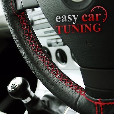 For Peugeot 308  Black Perforated Real Italian Leather Steering Wheel Cover Red