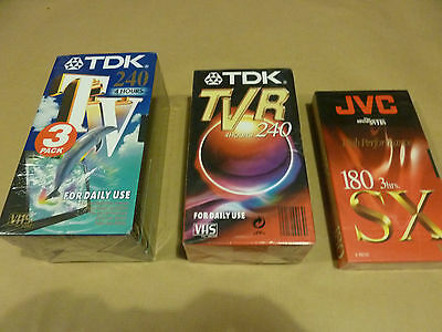 Brand New TDK TV 240 - TDK TVR 240 - JVC SX 180 - 6 Video Cassettes **SEALED**