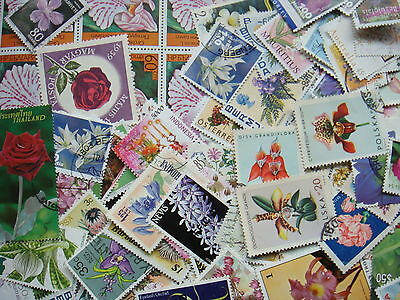 FLOWER Stamps Thematics 10 grams Whole World Mixed CTO's & Genuine Postage