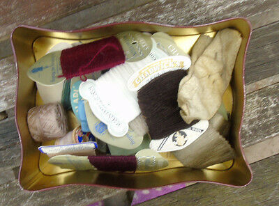 Vintage Sewing Items In Old Toffee Tin - darning wool / thread, pins, needles .