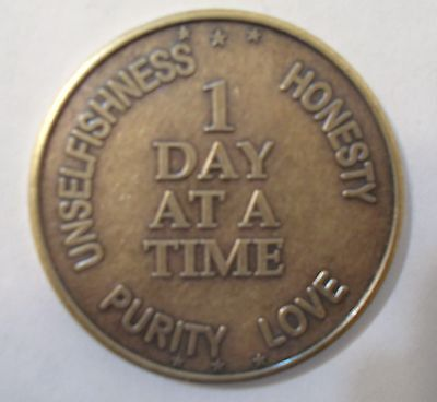 Recovery coins AA NA CA 1 Day at a Time Medallion tokens sobriety affirmation