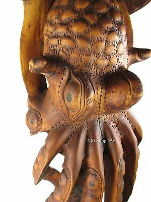 """Octopus Carving 24"""" Inch Tall Hand Carved Wood Nautical Beach Ocean Home Decor"""
