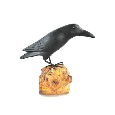 "Raven 12"" Inch Tall Hand Carved Figuring Burl Wood Home Decor Black"