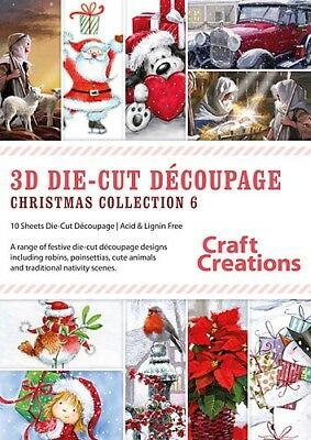 Craft Creations Christmas Collection 6 3D Die-Cut Decoupage PK786