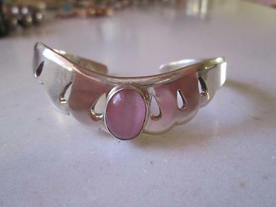 Vtg Taxco Mexico Sterling 925 Heavy Open Work Cuff Bracelet Pink Quartz Center