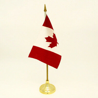 Table Top Canadian Flag, 4x6in w/ Golden Stand (SF200)
