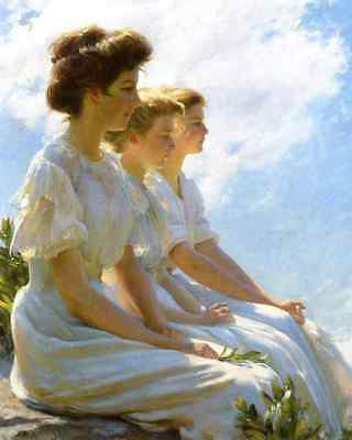 Edwardian Ladies Summer Sun Art  - On the Heights by C C Curran  8x10 Print 0245