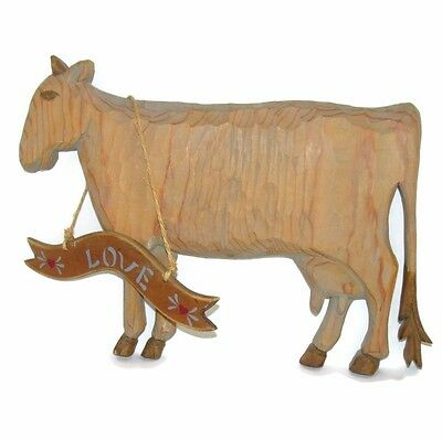 Vtg COW Farm Hand crafted Wood Lancaster PA Dutch w Sign Wall Hanging Plaque