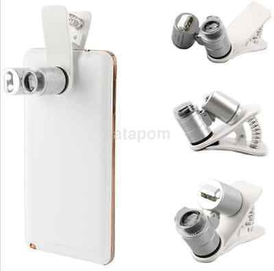 60X Magnifying Universal Mobile Phone LED Microscope Magnifier with Clip