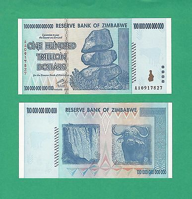 Zimbabwe 100 Trillion P-91 2008  Prefix AA Choice Uncirculated