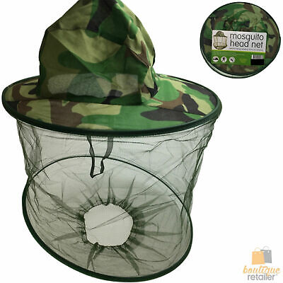 CAMO MOSQUITO NET HAT Outdoor Insect Mesh Protector Cap Bee Fly Bug Camping New