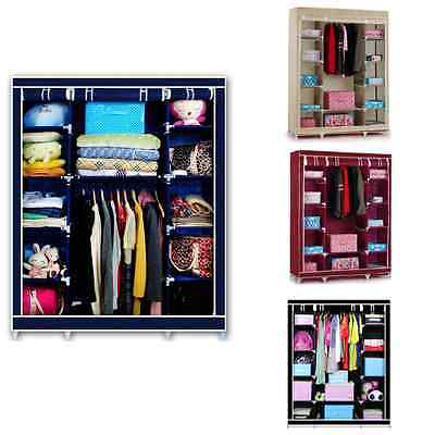 Triple Multiple Canvas Wardrobe With Hanging Rail Home Furniture Storage Box
