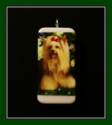 Darling Little Shih Tzu Domino Dog Pendant With Swarovski Crystals