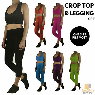 Women's CROP TOP & LEGGING SET Stretch Outfit Sport Party Costume Gym Style New