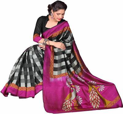 Checkered Mysore Cotton Sari  (Multicolor)