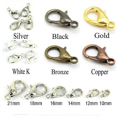 Lobster Clasps Claw Trigger Hook Necklace Cords Black Silver Gold 10/12/14/16mm