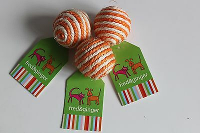 3 x Fred & Ginger Ball And Rustle Cat Toy