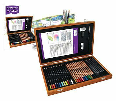 Derwent Academy Wooden Gift Box Set of Colour Pencils & Art Accessories