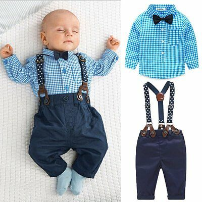 2PCS Newborn Ovaralls Kid Baby Boys T-shirt Tops+Pants Outfits Clothes Set 0-24M