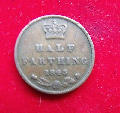 1843 Victoria Copper Half Farthing Britiish Coins Coin nice example