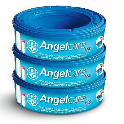 3 x Angelcare Nappy Disposal System Refill Cassettes Wrappers Bag Sacks Pack Bin