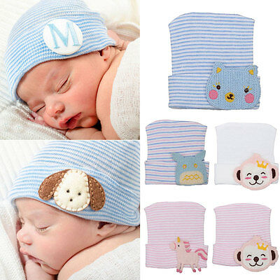 Cute Baby Newborn Boys Girl Infant Toddler Knitted Beanie Hat Hospital Cap Comfy