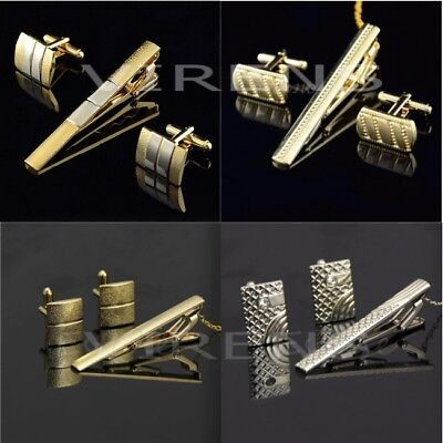 Mens necktie and cufflink set stunning wedding party tie clip cuff link gift