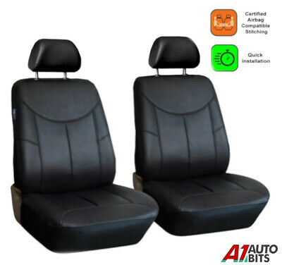 1+1 Front Leatherette Black Seat Covers For Renault Clio Megane Laguna Scenic