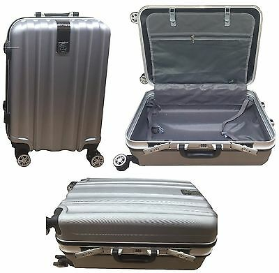 """Hard Shell Cabin Suitcase 4Wheel Spinner Luggage ABS PC Aluminium Silver 20"""" 24"""""""