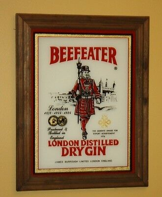 "Vintage Beefeater Dry Gin Painted Glass Bar Sign w/ Wood Frame 1970's  15"" x 19"""