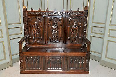 Antique French Gothic Bench Three Large Carved Renaissance Figures Solid Oak