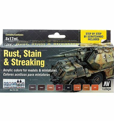 Set Vallejo: Rust Stain & Streaking (8x17ml) - Acrylicos Vallejo 8429551701839