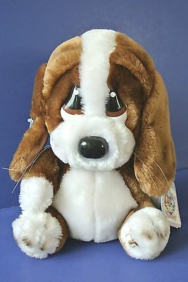 "Applause Sad Sam Honey Dog Puppy 10"" Plush Brown & White Basset Hound 1994"