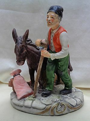 Very Decorative Vintage Old Man & Donkey Painted Statue *Made in Portugal*