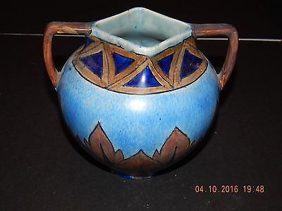 CLEWS & CO CHAMELEON WARE BLUE & BROWN PERSIAN STYLE VASE WITH TWO HANDLES 1920s