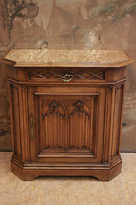 Antique French Gothic Server or Sideboard in Walnut With Marble Top 19th Century