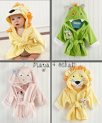 Baby Hooded Bathrobe Towel Dressing Gown Animal Pink Lamb Lion Monster 6 - 12 m