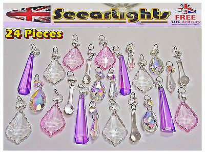 24 Pastel Ab Clear Chandelier Droplets Crystals Cut Glass Vintage Wedding Beads • CAD $55.08