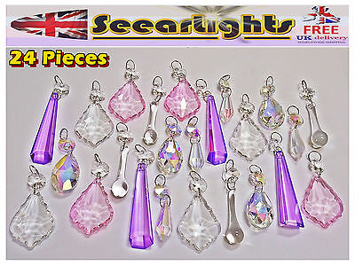 Beautiful Pastel Ab Clear Chandelier Droplets Crystals Glass Vintage Wedding Bn