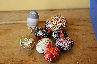 Collection of Vintage hand painted eggs, wood, stone and egg.