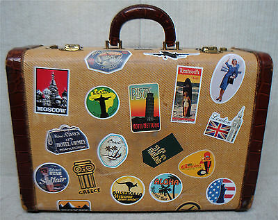 "CLOSMAN Luggage -Vintage 18"" Tweed & Leather Suitcase Luggage -Travel Stickers"